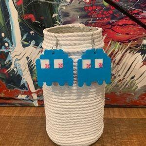 Pac-Man Blue Dangle Earrings